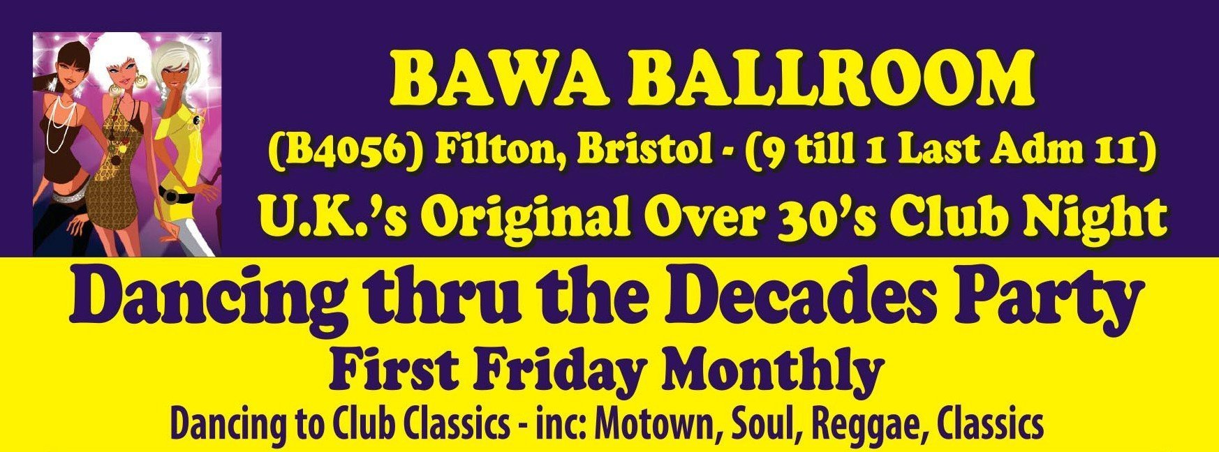 Bawa Bristol Over 30s nights poster